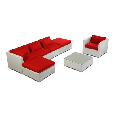 Lanai 7 Piece Deep Seating Group Fabric: Red, Finish: White