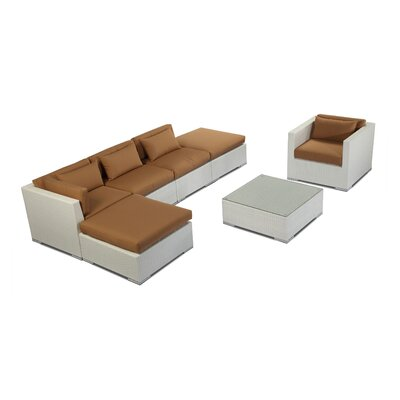 Lanai 7 Piece Deep Seating Group Fabric: Taupe, Finish: White