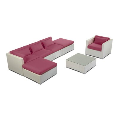 Lanai 7 Piece Deep Seating Group Fabric: Orchid, Finish: White