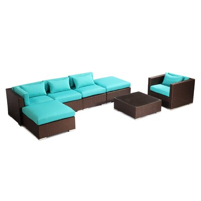 Lanai 7 Piece Deep Seating Group Fabric: Turquoise, Finish: Brown