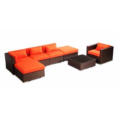 Lanai 7 Piece Deep Seating Group Fabric: Orange, Finish: Brown