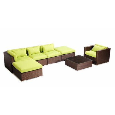 Lanai 7 Piece Deep Seating Group Fabric: Lime Green, Finish: Brown