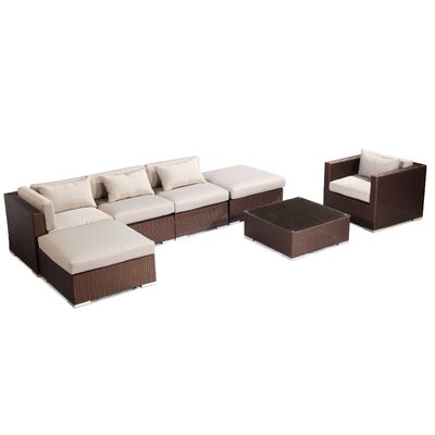 Lanai 7 Piece Deep Seating Group Fabric: Grey, Finish: Brown