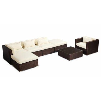 Lanai 7 Piece Deep Seating Group Fabric: Ivory, Finish: Brown