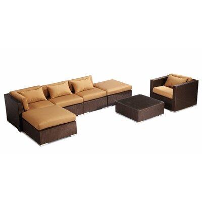 Lanai 7 Piece Deep Seating Group Fabric: Taupe, Finish: Brown