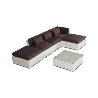 Poipu 6 Piece Deep Seating Group Fabric: Graphite, Finish: White