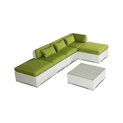 Poipu 6 Piece Deep Seating Group Fabric: Lime Green, Finish: White