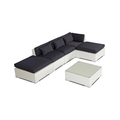 Poipu 6 Piece Deep Seating Group Fabric: Navy, Finish: White