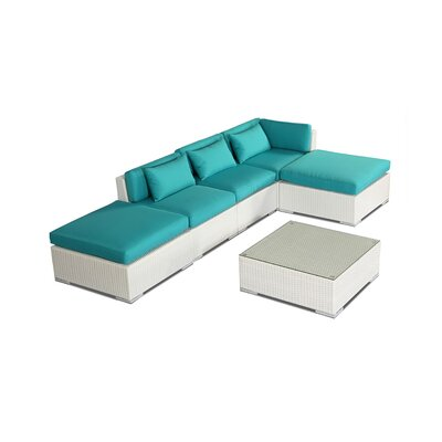 Poipu 6 Piece Deep Seating Group Fabric: Turquoise, Finish: White