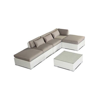 Poipu 6 Piece Deep Seating Group Fabric: Grey, Finish: White