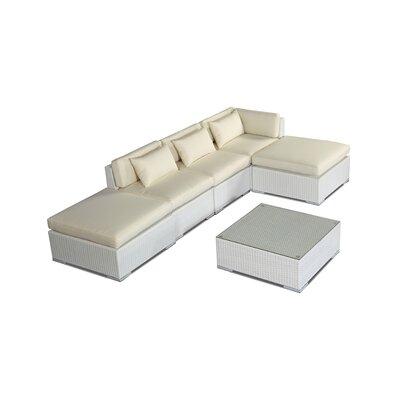 Poipu 6 Piece Deep Seating Group Fabric: Ivory, Finish: White
