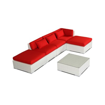 Poipu 6 Piece Deep Seating Group Fabric: Red, Finish: White