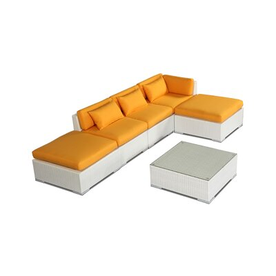 Poipu 6 Piece Deep Seating Group Fabric: Sunflower, Finish: White