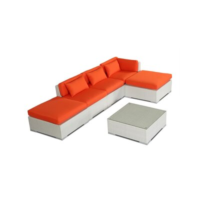Poipu 6 Piece Deep Seating Group Fabric: Orange, Finish: White