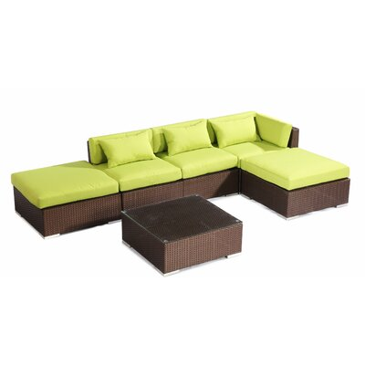 Poipu 6 Piece Deep Seating Group Fabric: Lime Green, Finish: Brown