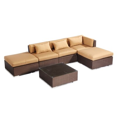 Poipu 6 Piece Deep Seating Group Fabric: Taupe, Finish: Brown