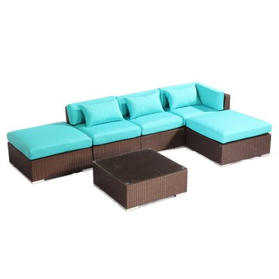 Poipu 6 Piece Deep Seating Group Fabric: Turquoise, Finish: Brown