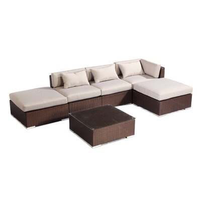 Poipu 6 Piece Deep Seating Group Fabric: Grey, Finish: Brown