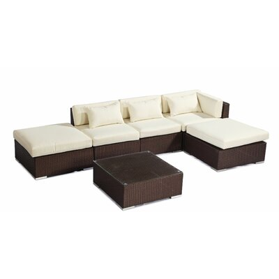 Poipu 6 Piece Deep Seating Group Fabric: Ivory, Finish: Brown