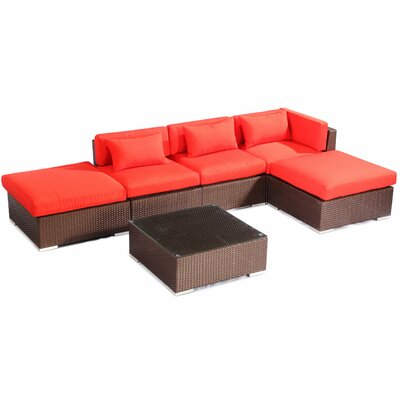 Poipu 6 Piece Deep Seating Group Fabric: Red, Finish: Brown