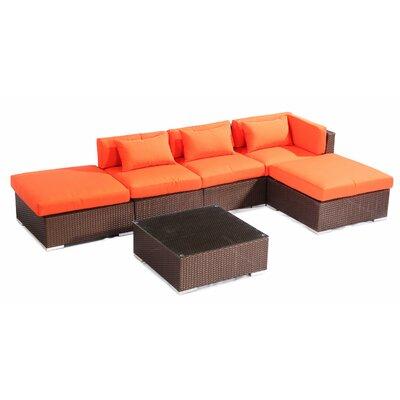 Poipu 6 Piece Deep Seating Group Fabric: Orange, Finish: Brown