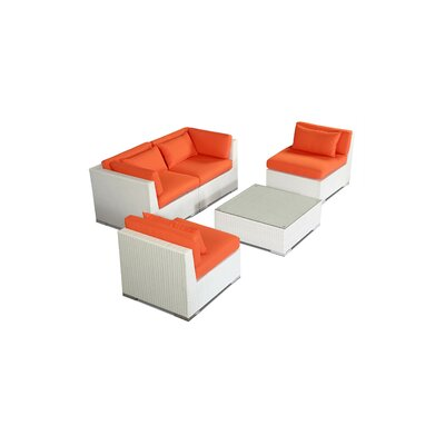 Kauna 5 Piece Deep Seating Group Fabric: Orange, Finish: White
