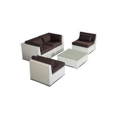 Kauna 5 Piece Deep Seating Group Fabric: Graphite, Finish: White