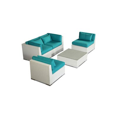 Kauna 5 Piece Deep Seating Group Fabric: Turquoise, Finish: White
