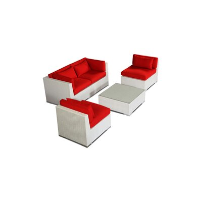 Kauna 5 Piece Deep Seating Group Fabric: Red, Finish: White