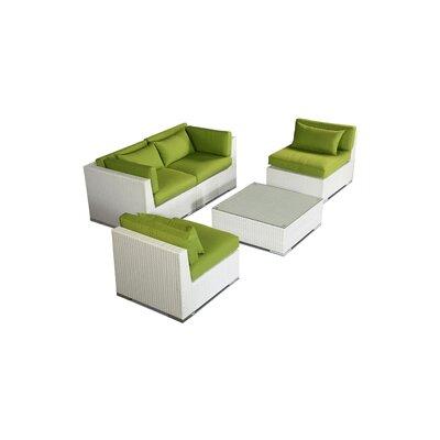 Kauna 5 Piece Deep Seating Group Fabric: Lime Green, Finish: White