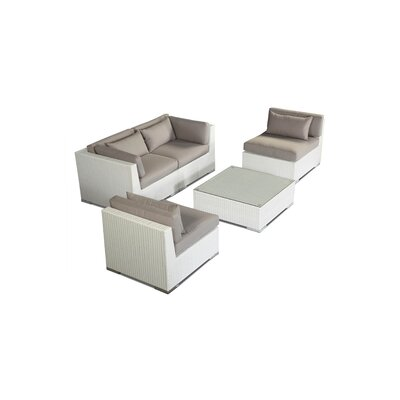 Kauna 5 Piece Deep Seating Group Fabric: Grey, Finish: White
