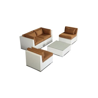 Kauna 5 Piece Deep Seating Group Fabric: Taupe, Finish: White