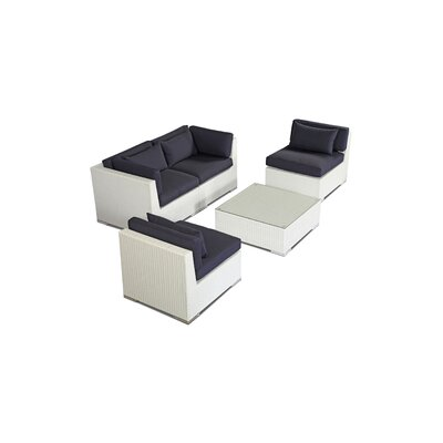 Kauna 5 Piece Deep Seating Group Fabric: Navy, Finish: White