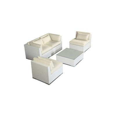 Kauna 5 Piece Deep Seating Group Fabric: Ivory, Finish: White