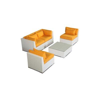 Kauna 5 Piece Deep Seating Group Fabric: Sunflower, Finish: White