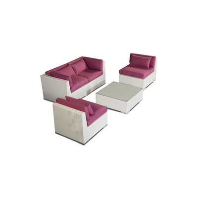 Kauna 5 Piece Deep Seating Group Fabric: Orchid, Finish: White
