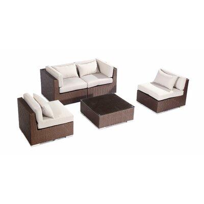 Kauna 5 Piece Deep Seating Group Fabric: Grey, Finish: Brown