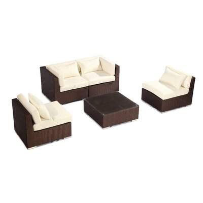 Kauna 5 Piece Deep Seating Group Fabric: Ivory, Finish: Brown
