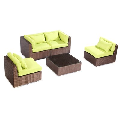 Kauna 5 Piece Deep Seating Group Fabric: Lime Green, Finish: Brown