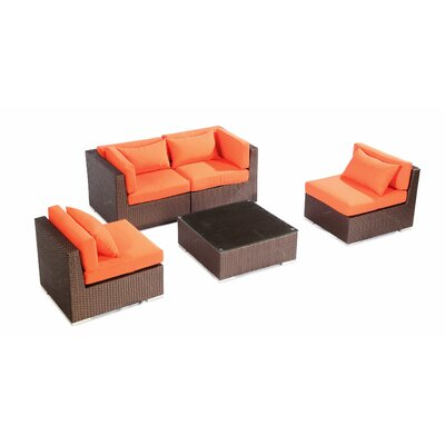 Kauna 5 Piece Deep Seating Group Fabric: Orange, Finish: Brown