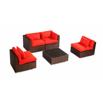 Kauna 5 Piece Deep Seating Group Fabric: Red, Finish: Brown