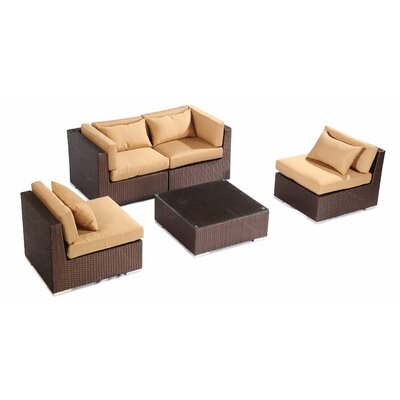 Kauna 5 Piece Deep Seating Group Fabric: Taupe, Finish: Brown