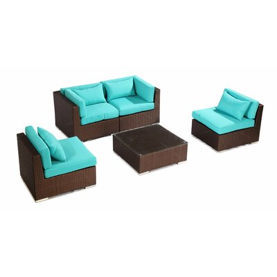 Kauna 5 Piece Deep Seating Group Fabric: Turquoise, Finish: Brown