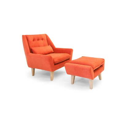 Stuart Lounge Chair and Ottoman Upholstery: Plush Coral