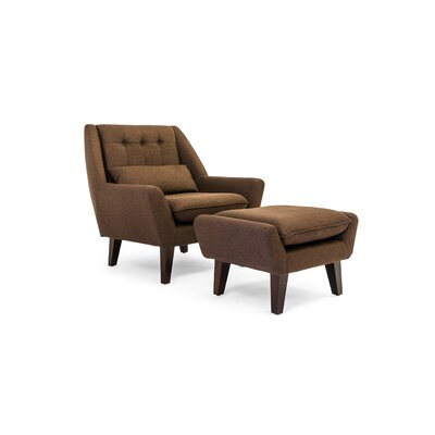 Stuart Lounge Chair and Ottoman Color: Chevron Brown