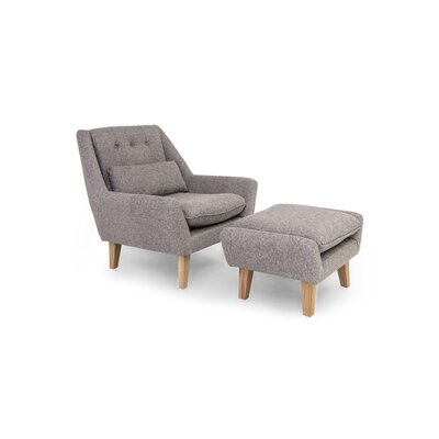 Stuart Lounge Chair and Ottoman Upholstery: Deco Gray