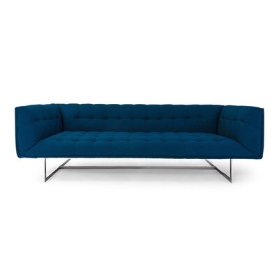 Shaner Mid Century Modern Chesterfield Sofa Upholstery: Oxford Blue