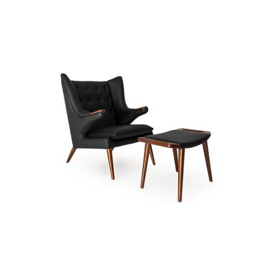 Bear Wingback Chair and Ottoman Finish: Black