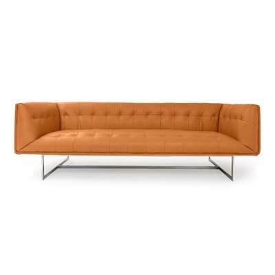 Edward Mid Century Modern Leather Chesterfield Sofa Upholstery: Canyon