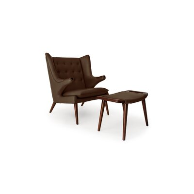 Bear Wingback Chair and Ottoman Finish: Coco Brown